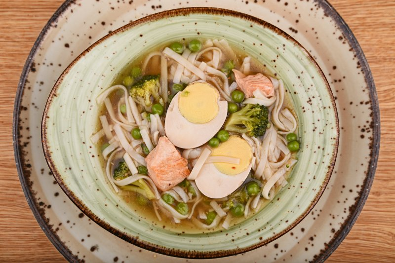 Momi ramen with rice noodles