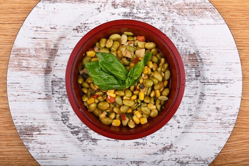 Stir fried edamame beans salad