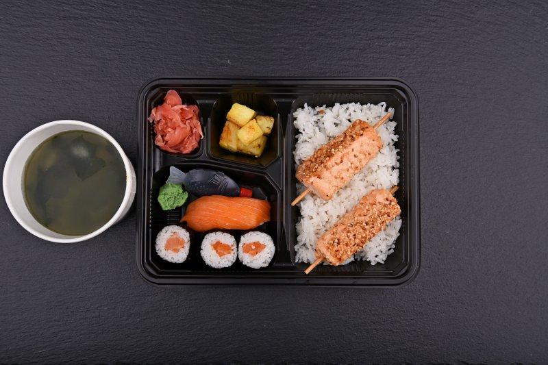 Shimane bento with free salad and salmon balls