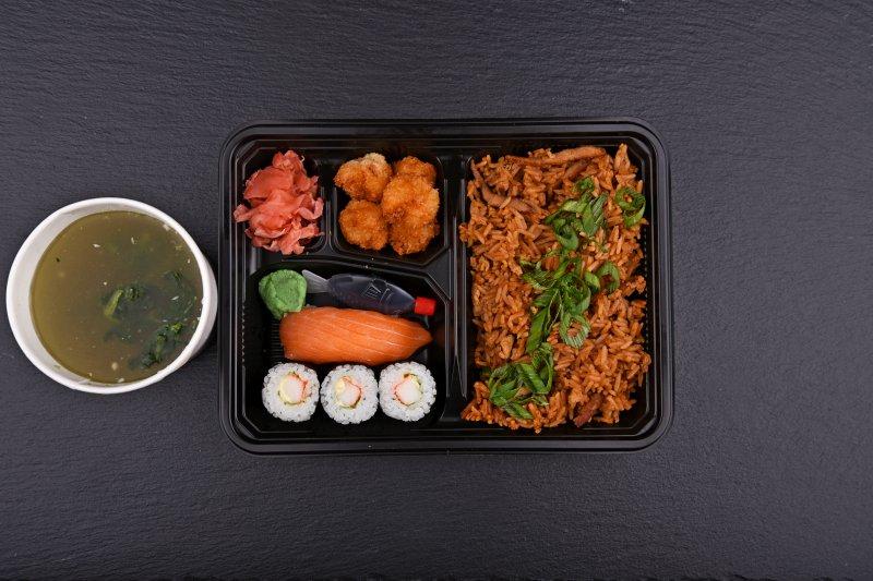 Tochigi bento with free salad and salmon balls