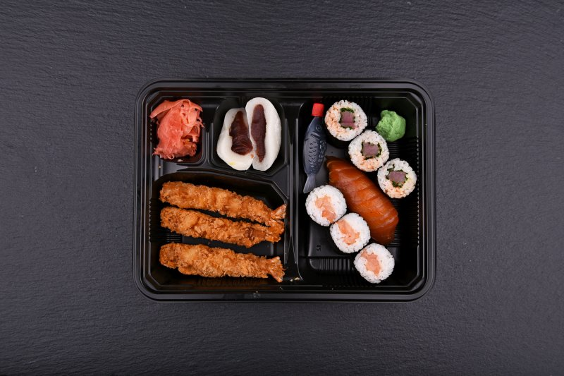 Aichi bento with free salad and salmon balls