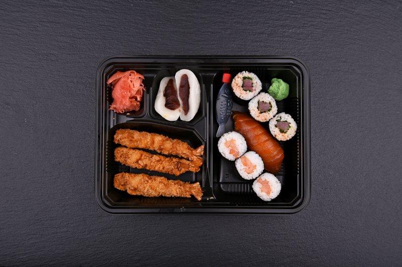Aichi bento with free salad and salmon balls