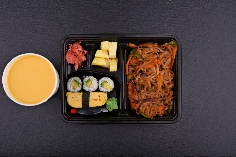 Kinugawa bento with free salad and salmon balls