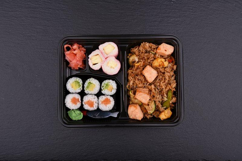 Haru bento with free salad and salmon balls