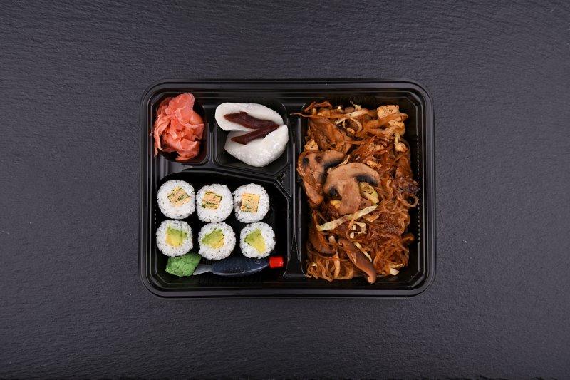 Numazu calorie-free bento with free salad and salmon balls