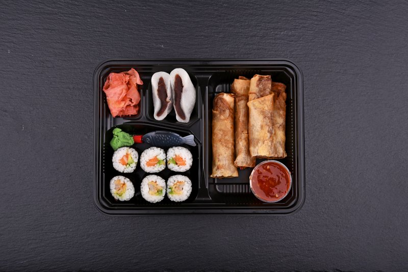 Kabaguchi lunch bento with free salad and salmon balls