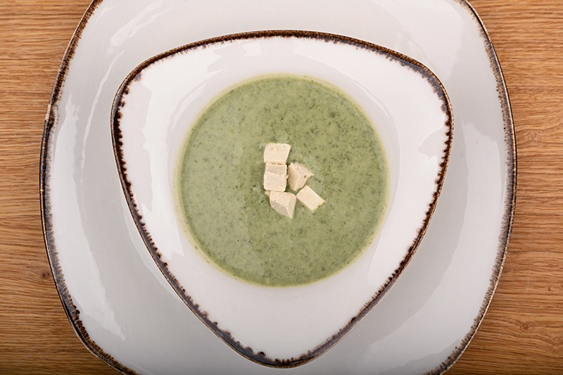 Ramsons cream soup with tofu