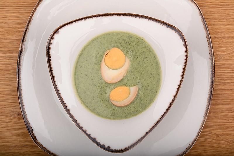 Ramsons cream soup with ramen egg