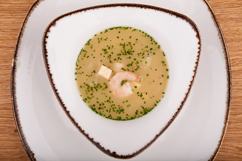 Miso soup with tiger prawns