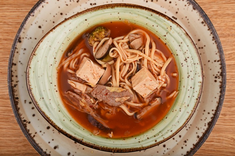 Beef-chili ramen with rice noodles