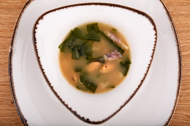 Hot miso soup with seafood