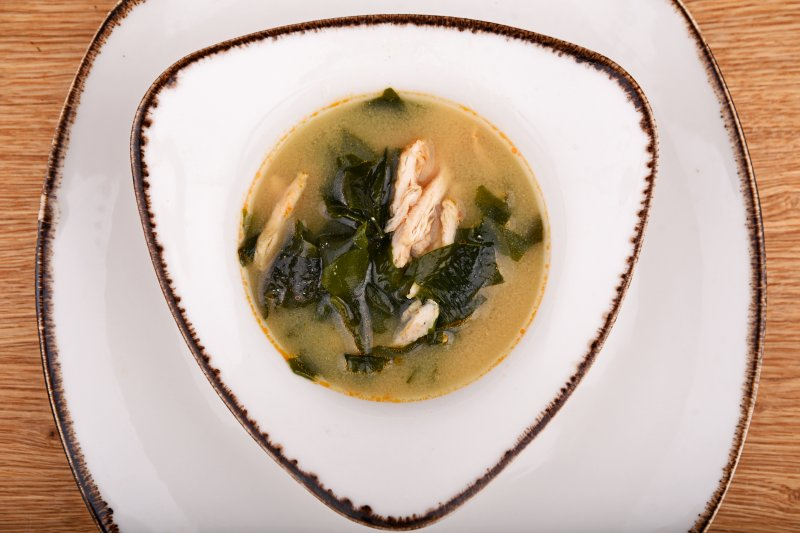 Miso soup with Japanese chicken and chili oil