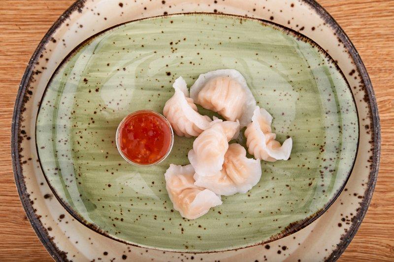 Hakao shrimp ravioli with sweet chili sauce